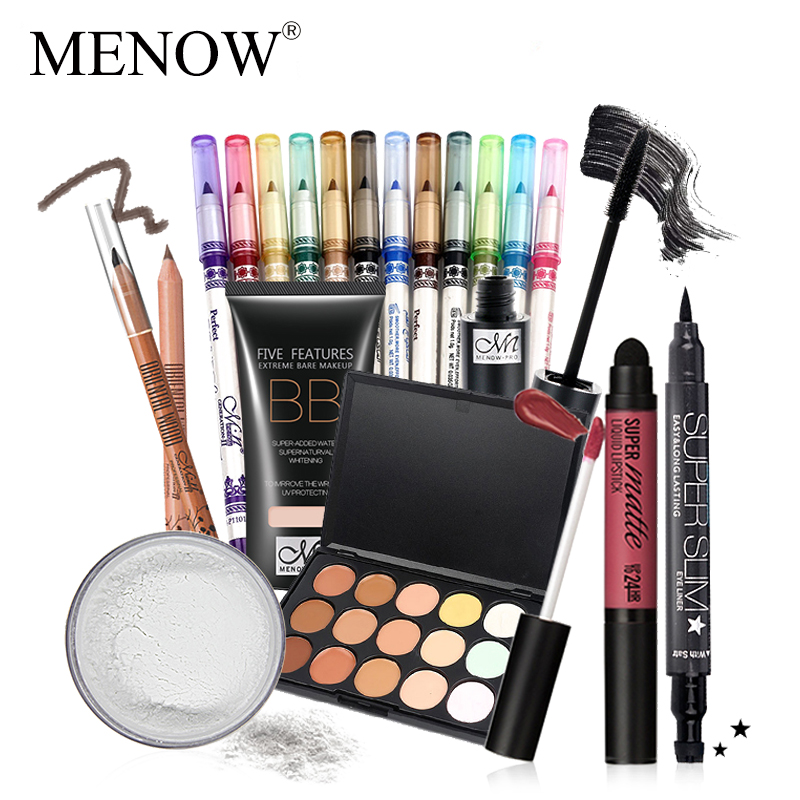 MENOW Makeup set 12 Colors Eyeliner & Mascara &BB Cream & Lip gross & Eyebrow Pencil & 15 Color Concealer Eyeliner Powder