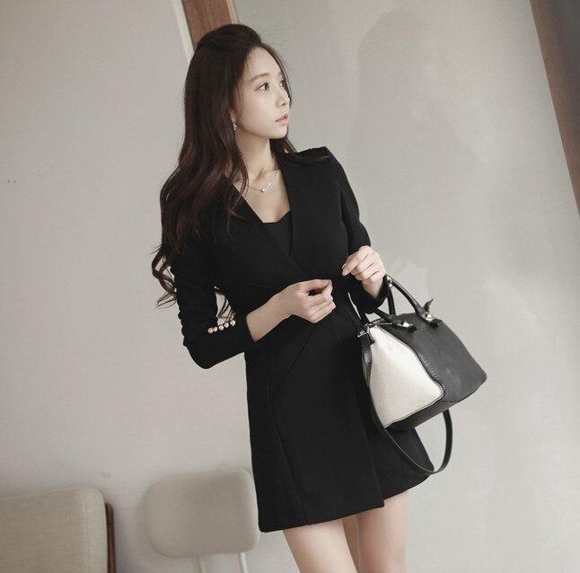 Vajza OL Formale e Biznesit për Punë Veshje, V-Qafë A-Line Zipper - Veshje për femra - Foto 4