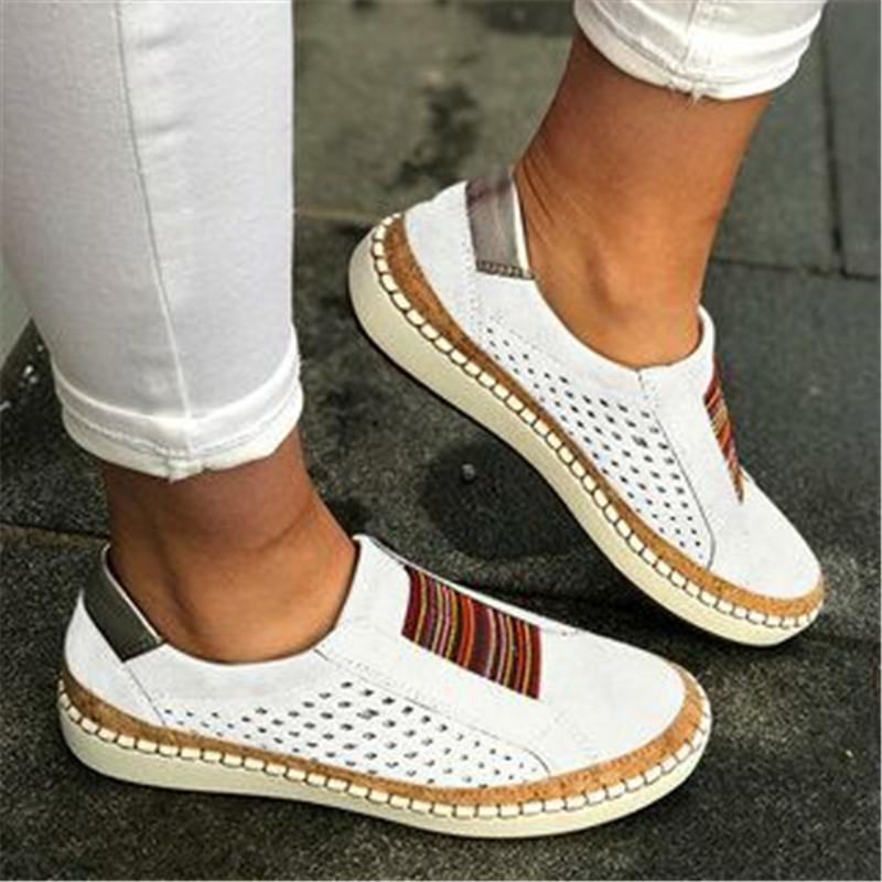 Large Size Breathable Leather Women Shoes 2019 Summer Retro Women Casual Shoes Fashion Mesh White Sneakers Women Flats Platform