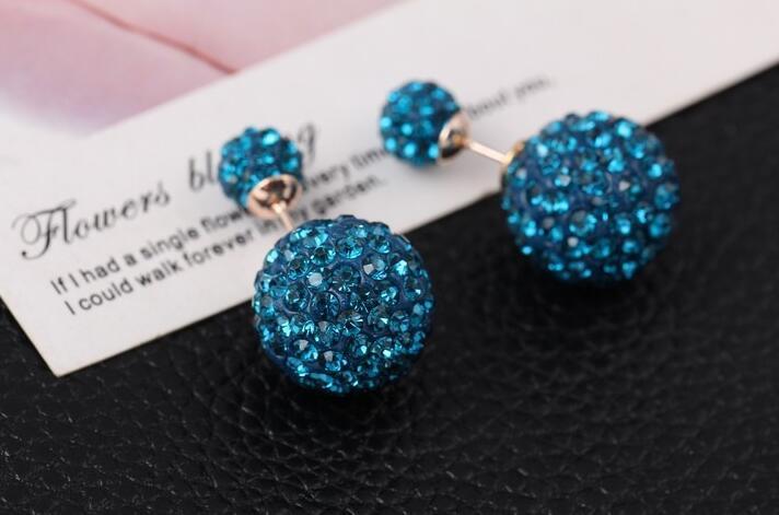 Stud Earrings ear rings Fashion for women Girls lady cystal two balls