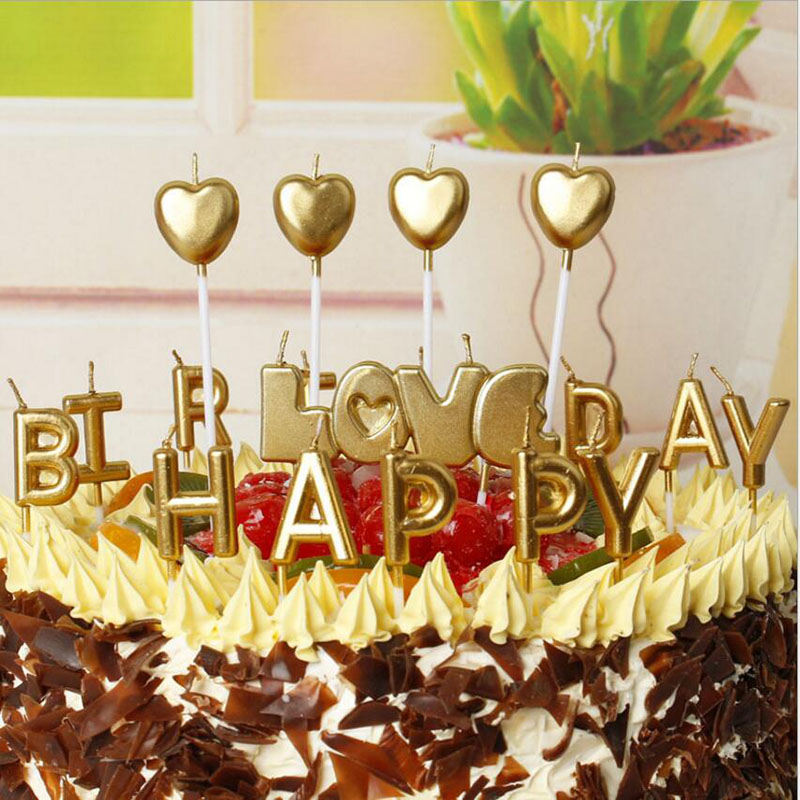 Gold Happy Birthday LOVE Letter Cake Party Favors Supplies Lovely Candles For Kitchen Baking Gift
