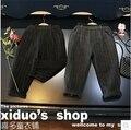 2016 muchachas del invierno ropa nueva estilo occidental pantalones de lana a rayas drapeado rábano niños pantalones casuales
