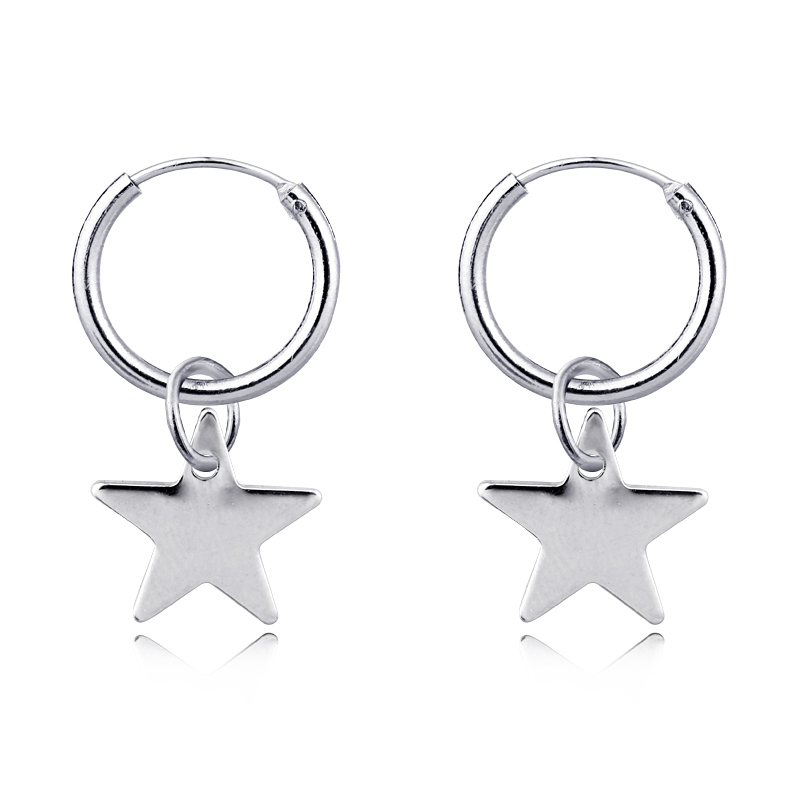 1 Pair Simple Brightly Cute Little Star Small Hoop ...