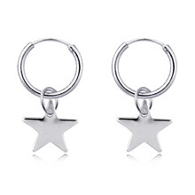 3c4d47bd1 1pair Chic Silver Color Little Star Pendant Hoop Earrings For Women Cute  Endless Circle Earring Charm Girl Earring Jewelry E801
