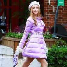 dabuwawa original brand fashion new 2016 winter purple slim elegant brief thickening long skirt down jacket women wholesale