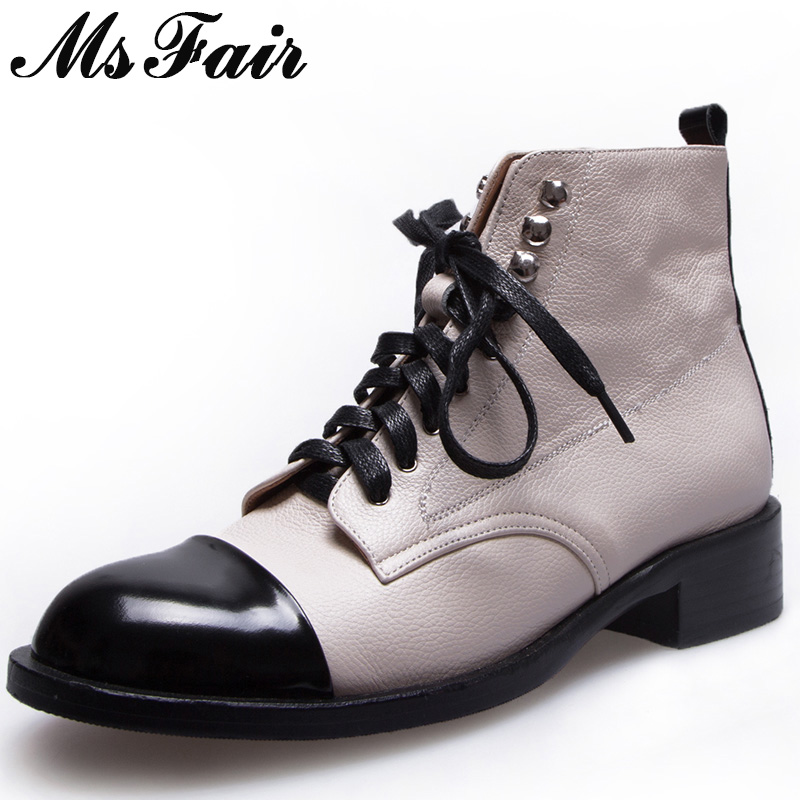 MSFAIR Women Boots Genuine Leather Lace Up Low Heel Ankle Boots Women Shoes Round Toe Square heel Black Boot Shoes For Woman джинсы liu jo jeans р 29