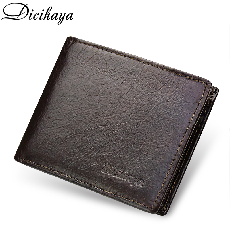 DICIHAYA Vintage Brand Male Genuine Leather Wallets Coin Bag Short Designer Rfid Wallet Purse Man More Card Holder Walet for Men contact s brand short men wallets genuine leather male purse card holder wallet fashion man hasp wallet man coin bags