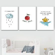 Watercolor Cartoon Cloud Raindrops Star Apple Nordic Posters And Prints Wall Art Canvas Painting Pictures Kids Room Decor