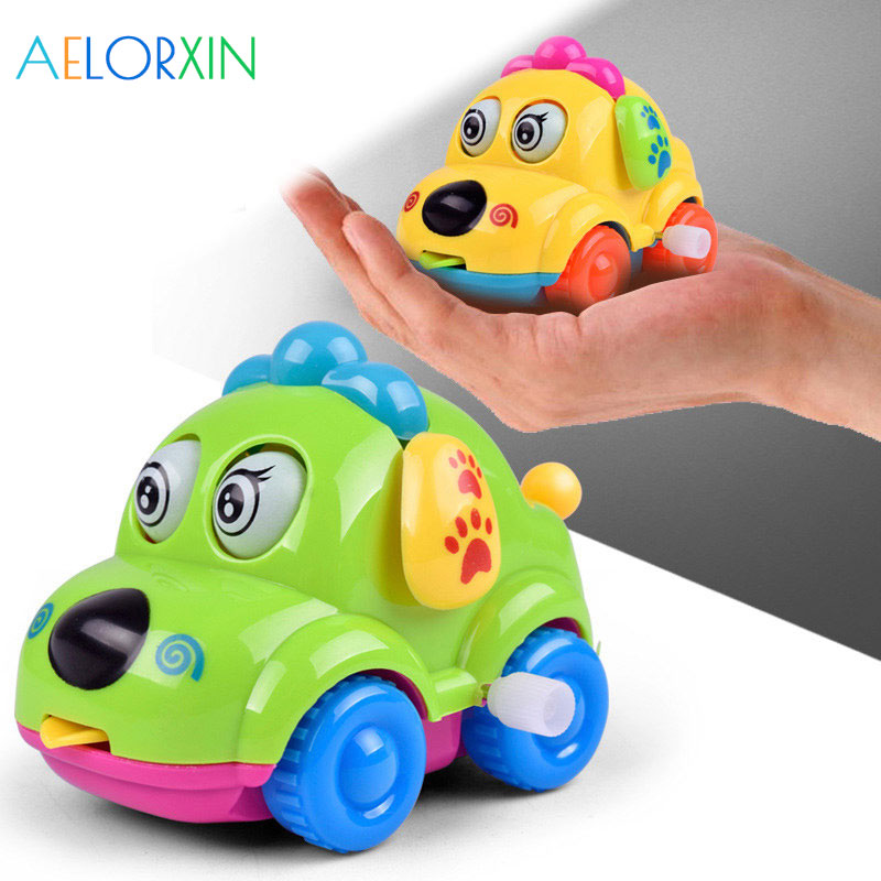 2018 Cute Cartoon Animal Dog Wind Up Toys Running Car Clockwork Toys Classic Toy Newborn Cars Toys For Children Oyuncak Wind in Wind Up Toys from Toys Hobbies