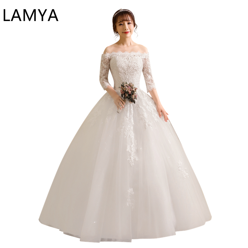 Real Photo Cheap Wedding Dresses With Half Lace Sleeve Boat Neck Bride Dress Women Elegant Robe De Soiree 2019