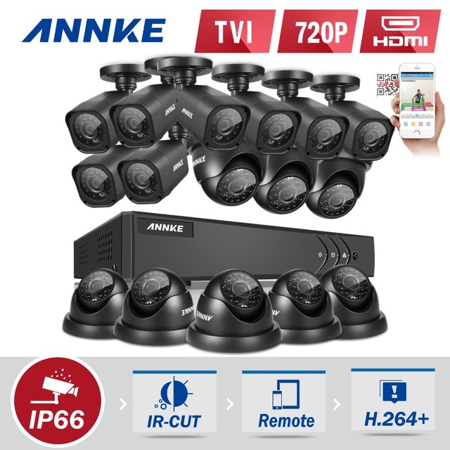 ANNKE 16CH 720P CCTV System 16CH 1080P HDMI DVR + 16PCS 720P 1.0MP IR Outdoor Bullet/Dome AHD Security Camera hdd
