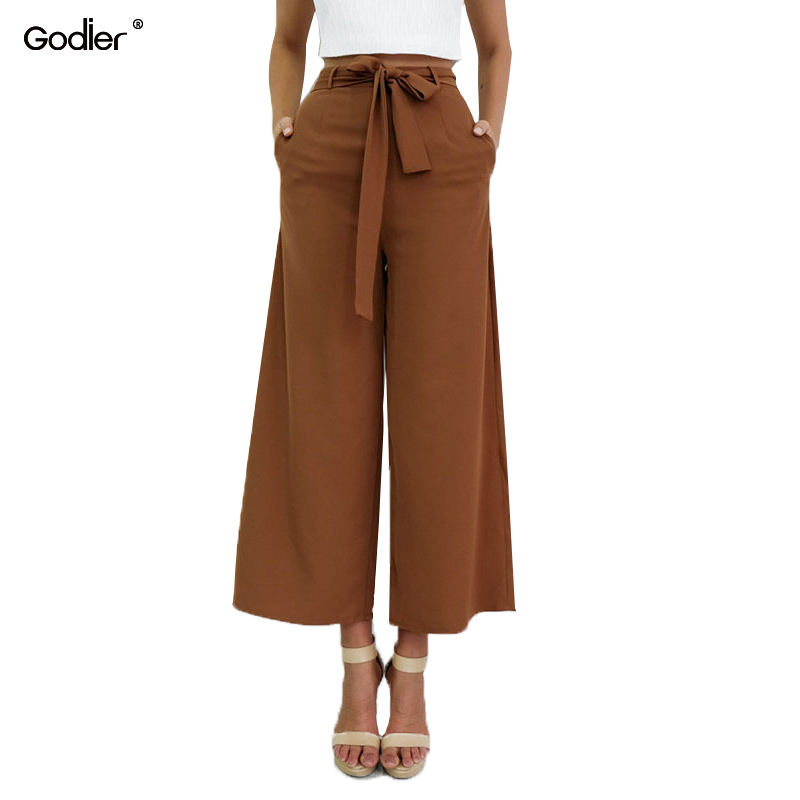 Godier Black Brown Chiffon Capris Women Mid Waist Straight Pants Bow Belt Elastic Waist With pockets Casual Trousers Jc0062