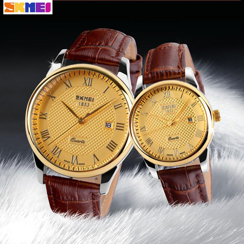 New SKMEI Lover's Watches Luxury Brand Quartz Watch For Men Women Fashion Casual Leather Dress Wristwatches Gold Black 2PCS