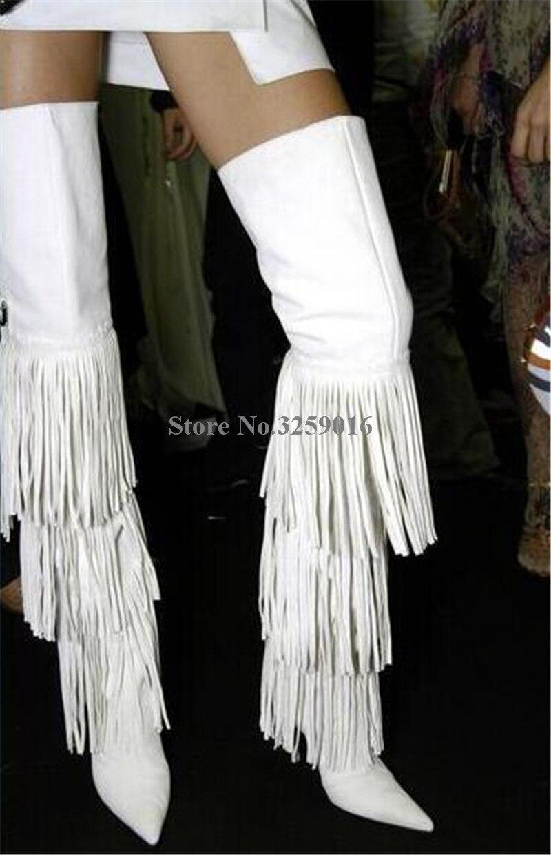 Charme de Mode De Femmes Bout Pointu En Daim En Cuir Sur Genou Longues Glands Bottes Noir Blanc Brun Franges Haute Talon de Longues Bottes