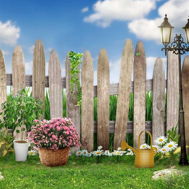 비닐 사진 배경 봄 꽃 잔디 푸른 하늘 구름 어린이 사진 스튜디오에 대 한 베이비 샤워 사진 배경 cm-6664