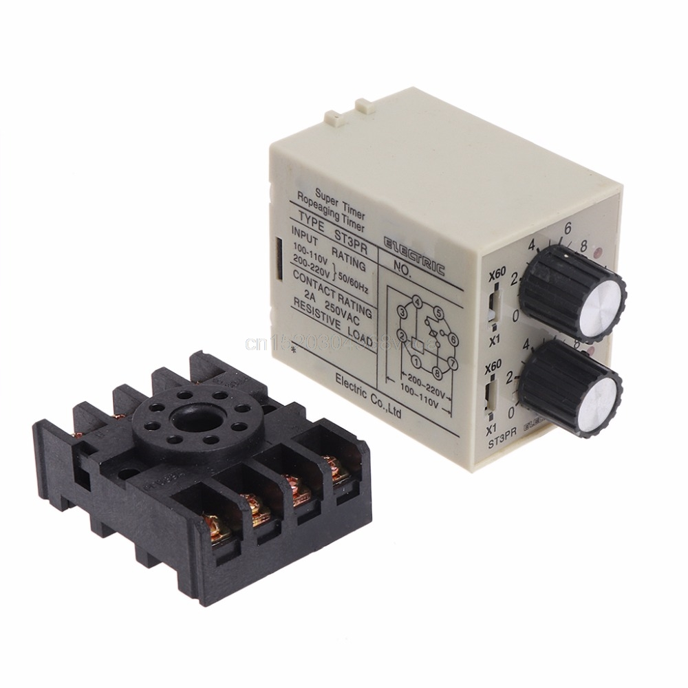 цена на ST3PR Electrical Time Relay Counter Relays Digital Timer Relay with Socket Base J16 dropshipping