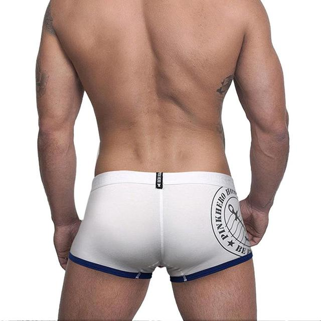 High Quality Men's Boxers Pink Heroes Boutique Brand Underwear Male Sexy Cotton Solid Boxer Shorts Wholesale Men Underwear Oc252