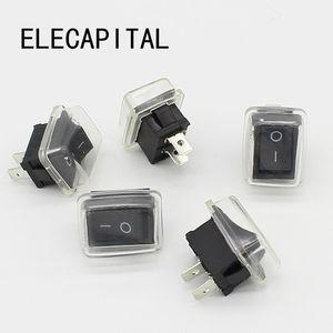 Image 1 - 5 יח\חבילה שחור לדחוף כפתור מיני מתג 6A 10A 110V 250V 2Pin בהצמדה על/כיבוי מתג 21MM * 15MM עם עמיד למים כיסוי שחור