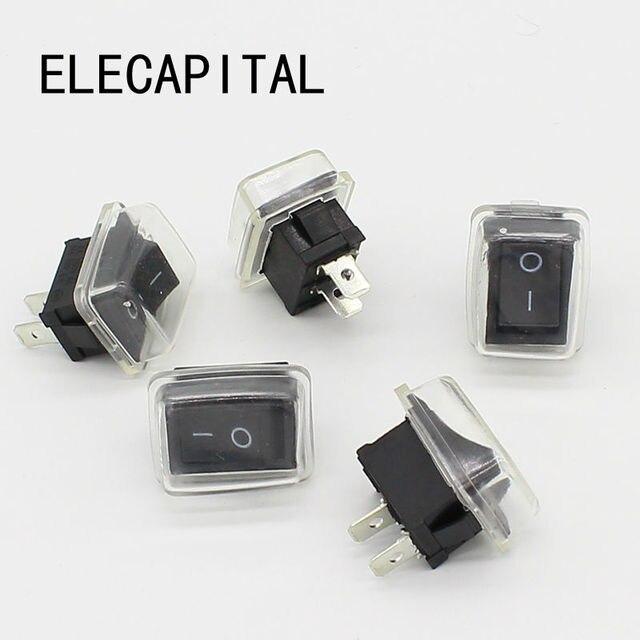 5 יח\חבילה שחור לדחוף כפתור מיני מתג 6A 10A 110V 250V 2Pin בהצמדה על/כיבוי מתג 21MM * 15MM עם עמיד למים כיסוי שחור