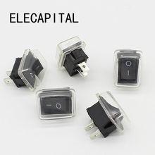 5 adet/grup siyah Push Button Mini anahtarı 6A 10A 110V 250V 2Pin Snap in On/Off Rocker anahtarı 21MM * 15MM su geçirmez kapak siyah