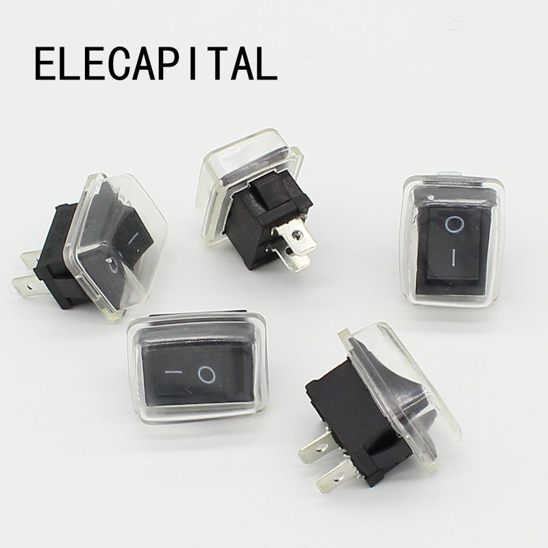 5Pcs/Lot Black Push Button Mini Switch 6A-10A 110V 250V 2Pin Snap-in On/Off Rocker Switch 21MM*15MM With Waterproof Cover Black