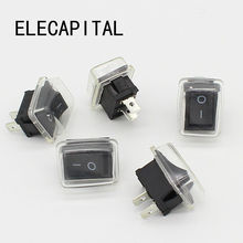 5Pcs/Lot Black Push Button Mini Switch 6A 10A 110V 250V 2Pin Snap in On/Off Rocker Switch 21MM*15MM with waterproof cover Black