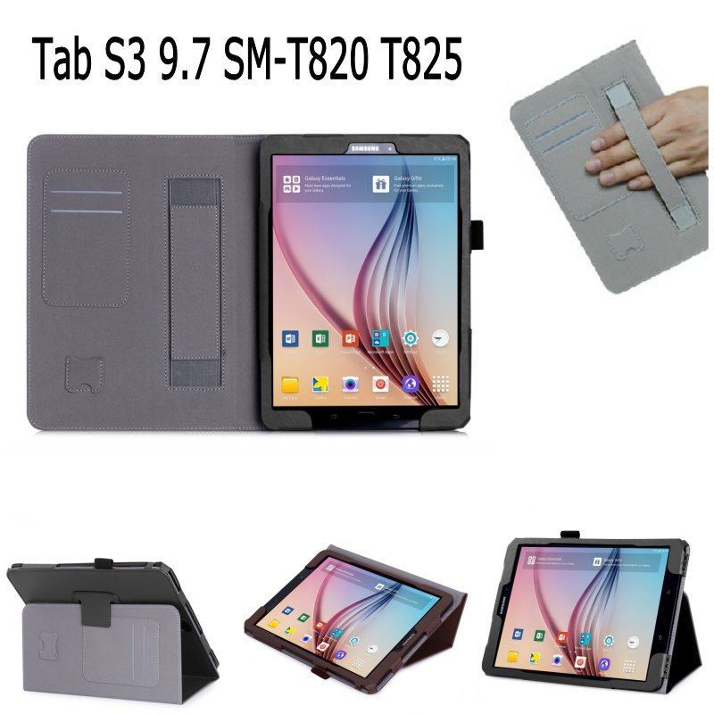 2017 Hand Strap ID card Slots PU Leather stand Smart Case Cover For Samsung Galaxy Tab S3 9.7 T820 SM-T820 T825 with screen film glossy leather wallet stand cover with 5 card slots for iphone 7 4 7 white