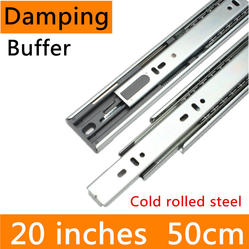 2 pairs 20 inches 50cm Hydraulic Damping Buffer Furniture Slide Guide Rail accessories Cold-Rolled Steel Full Extension Track drawer slide rail track three mute hydraulic damping buffer t