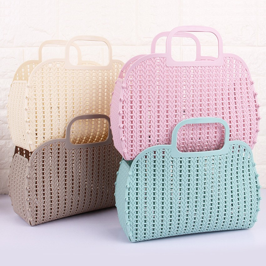 Fashion Folding Storage Basket ColorfulPlastic Portable Kitchen Bathroom Bath Basket Bathroom Accessories Organizers