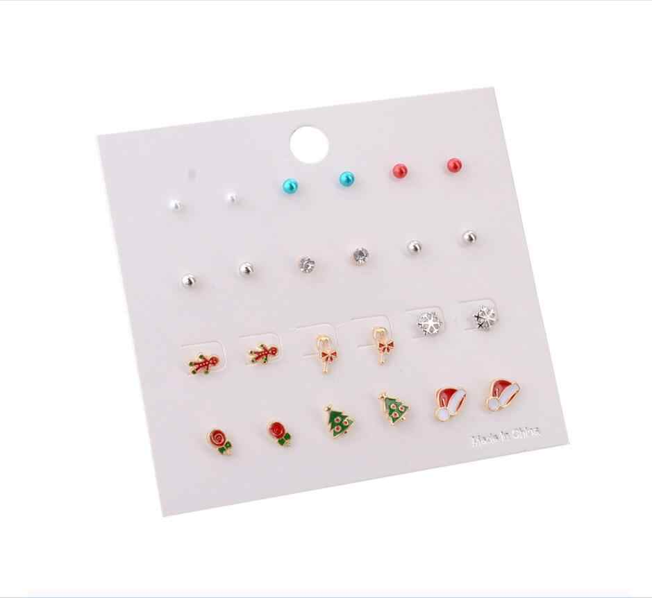 24PCS/lot Cute Small Deer Christmas Tree Stud Earrings For Women Girls Sliver Color crutch Animal Earrings Temperament Jewelry