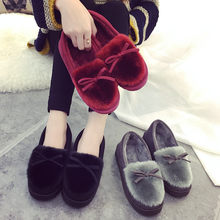 Winter Platform Shoes Women Outdoor Home Slippers Female Winter Fur Slides House Sandals Fuzzy Slippers Ladies Cute Loafers Bow(China)