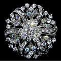 2 Inch Rhodium Silver Tone Clear and AB Rhinestone Crystal Sparkly Full Diamante Bridal Flower Brooch