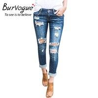 Burvogue Nuevo Ripped Jeans para Las Mujeres Ahueca Hacia Fuera Los Pantalones Vaqueros Femme Butt Elevación Lápiz Flaco Pantalones Vaqueros de Cuerpo Entero Estilo Agujero Vaqueros