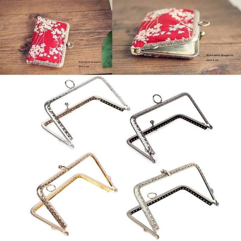 THINKTHENDO 1Pc DIY Purse Handbag Handle Coins Bags Metal Kiss Clasp Lock Frame 13.8cm