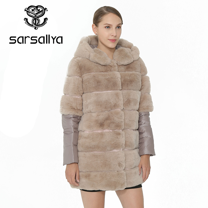 Gris Natural Real Sarsallya Gruesos Desmontable Mujer Abrigos Piel v6qtEq