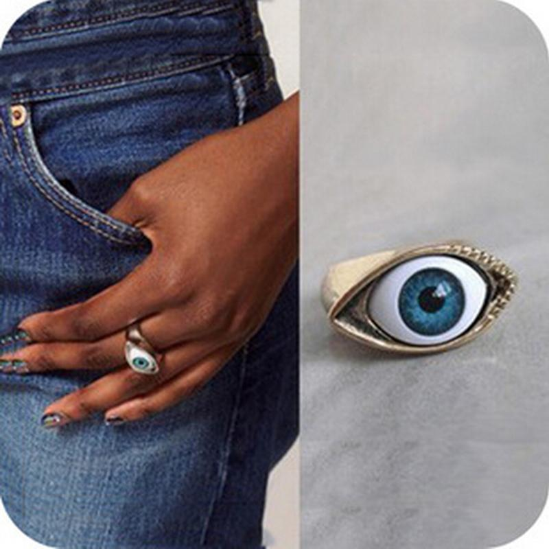 Retro Europe Punk Gothic Exaggerated Vampire Blue Brown Color Eye Rings For Women
