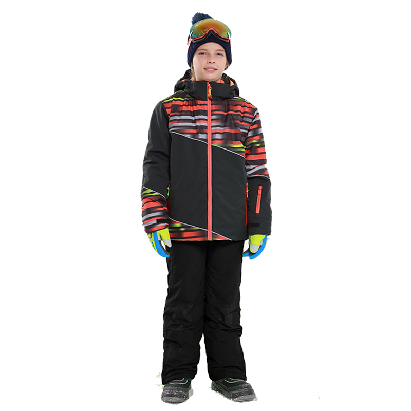 2018 Boys Outdoor Ski Set Waterproof Windproof Warm Ski Jacket Kids Winter Snowboard Sport Suit for Boys Clothes detector boys ski jacket children waterproof windproof clothing kids ski set winter warm snowboard outdoor ski suit boys ski set