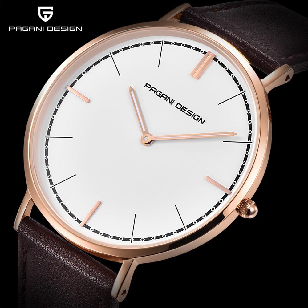 лучшая цена PAGANI DESIGN Brand Fashion Large Dial Quartz Men Watch Leather Sport High Quality Clock Watches Relogio Masculino Dropshipping