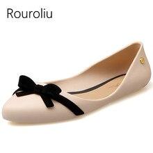 Rouroliu Women Summer Fashion Pointed Toe Sandals Comfortable Non-Slip Beach Shoes Bowknot Soft Sole Jelly Woman RB85