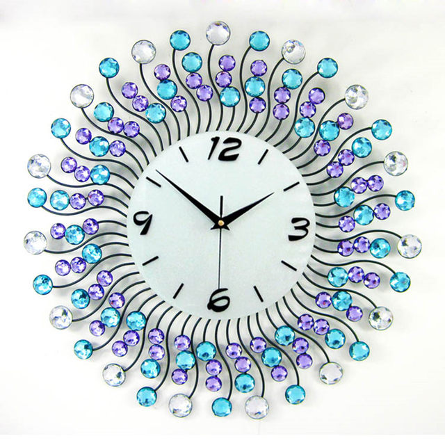 Brilliant Home Decoration Big Wall Clocks Iron Frame Rhinestone Clock Modern Decor Stopwatch Metal Crafts 3 Colors