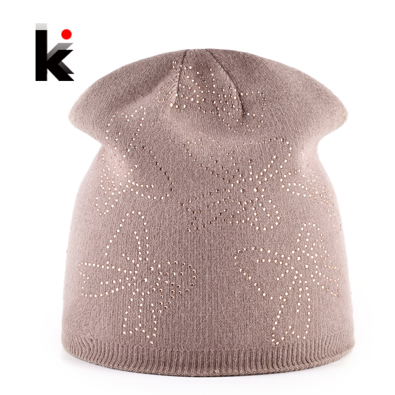 Autumn Winter Beanie Hats For Women Knitted Rabbit Wool Beanies Female Rhinestone Butterfly Bonnet Hat Ladies Outdoors Skullies adult beanie skullies rabbit fur ball shining warm knitted hat autumn winter hats for women