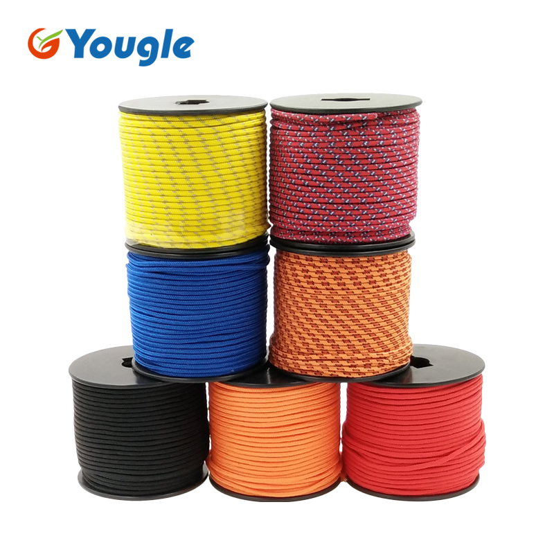YOUGLE 5Strand 350 Paracord Parachute Cord Lanyard Rope Mil Spec Climbing Camping Knitted Bracelet survival equipment 164FT 25 50 100ft paracord 550 paracord parachute cord lanyard rope mil spec type iii 7 strand climbing camping survival equipment