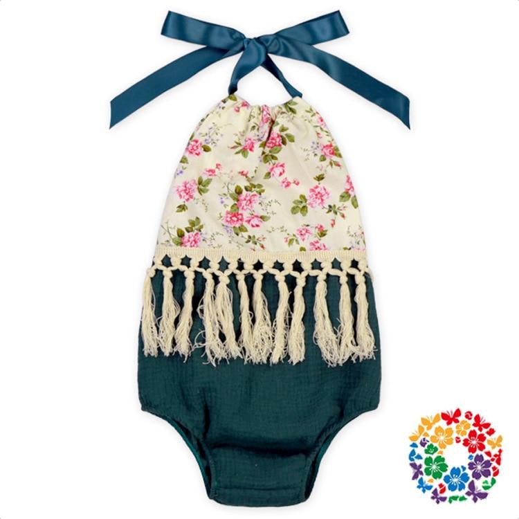 Fashion Baby Girls Bodysuits Children Cute Summer Bodysuits Toddle Tassel Backless Bodysuits Halter Neck Kids Clothes
