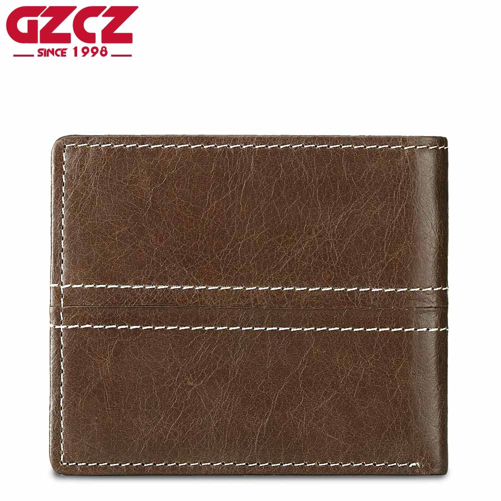 GZCZ Coin Purse Mens Genuine Leather Wallet Men Card Holder Male Clutch Bifold Small Vallet Slim Money Bag PORTFOLIO MAN