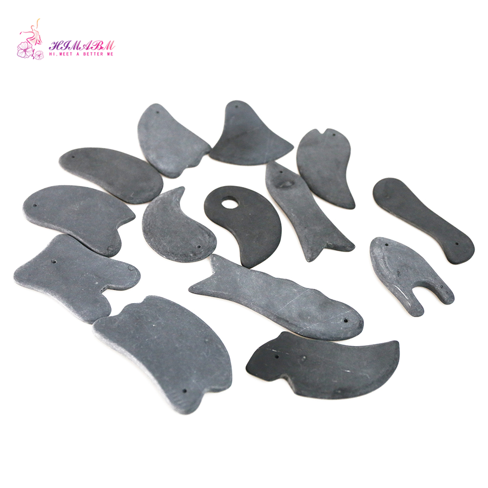 HIMABM 14 Pieces Natural Stone Needle Relax Guasha Board For Wrinkle Removal Whitening Face Care Beauty Face