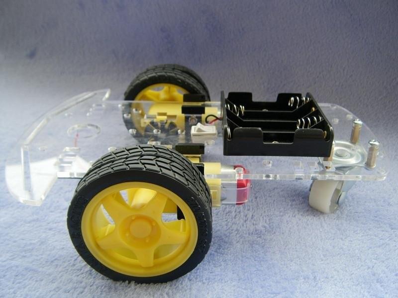 Nuevo Motor Robot inteligente coche chasis Kit codificador de velocidad caja de batería 2WD para Arduino envío gratis