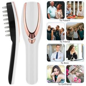 Image 4 - 3 IN 1 USB נטענת לייזר צמיחת שיער אינפרא אדום חשמלי עיסוי אנטי שיער אובדן פוטותרפיה קרקפת לעיסוי מסרק LED אור