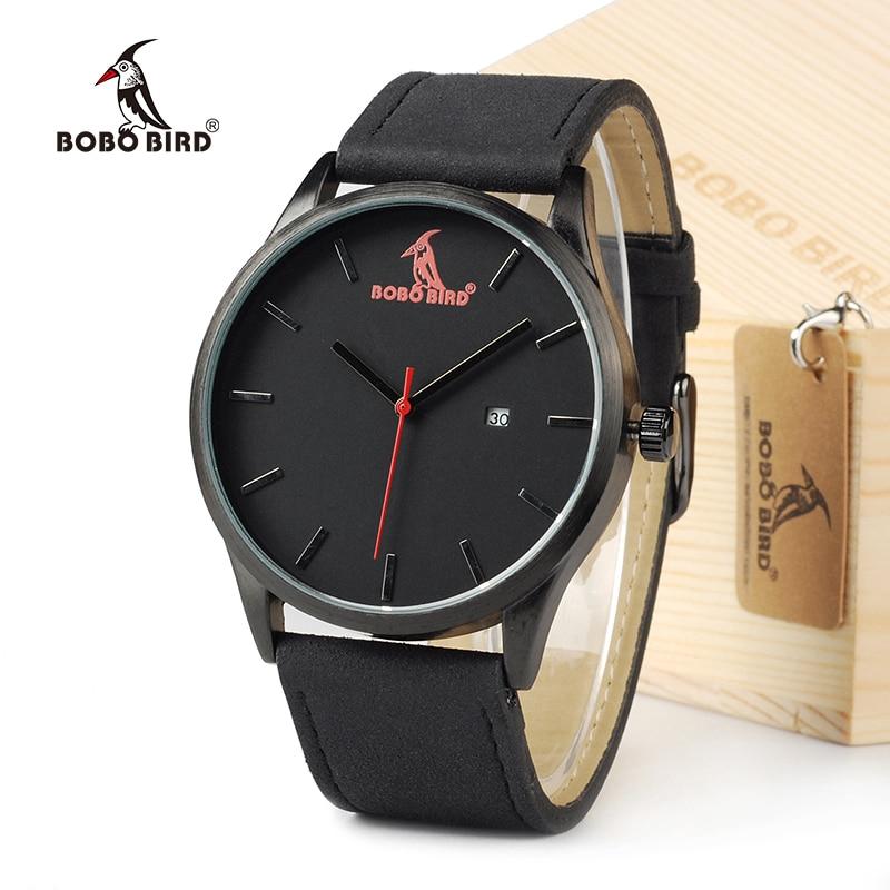 BOBOBIRD Top Luxury Brand Quartz Watches Business Military Men Watches Leather relogio masculino Leather Strap Clock-in Quartz Watches from Watches