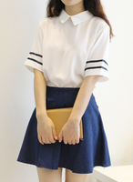 New 2014 Summer Lolita White Sailor Dress Chiffon Blouse Washed Denim Skirt Sailor Collar Cute Japanese