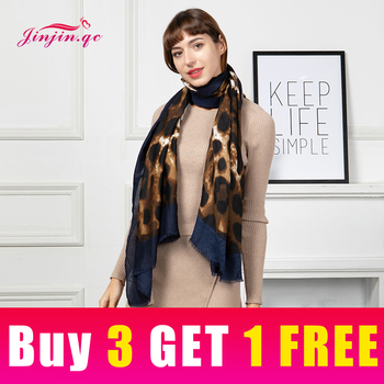 Jinjin.QC New Scarf Women Cotton Material Leopard Animal Print detail Casual Print 180*90cm Fashionable Lightweight Scarves casual poppy print voile scarf